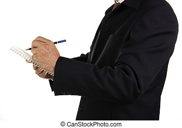 Hand of Businessman write on notebook