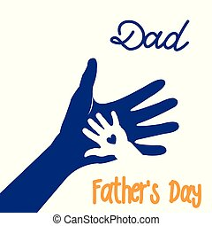 Hand of child and father or parent. Happy Father's Day greeting card