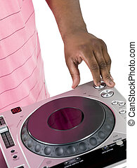 hand of dj playing music on the turntable