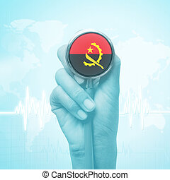 hand of doctor holding stethoscope with Angola flag.