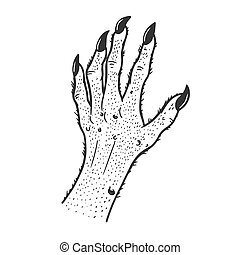 Hand of fabulous monster sketch engraving vector illustration. T-shirt apparel print design. Scratch board imitation. Black and white hand drawn image.