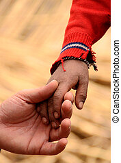 hand of father and son in south america, peru