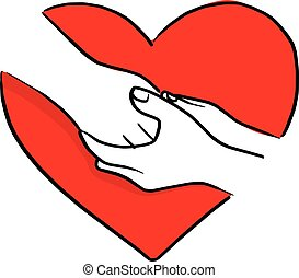hand of human comforting each other on red heart shape vector illustration sketch doodle hand drawn with black lines isolated on white background
