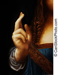 Hand of Jesus Christ in symbolic gesture. Detail from my own reproduction of Leonardo DaVinci painting Saviour of the World.