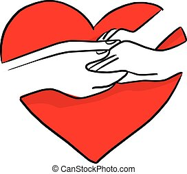 hand of lover holding on red heart shape vector illustration sketch doodle hand drawn with black lines isolated on white background