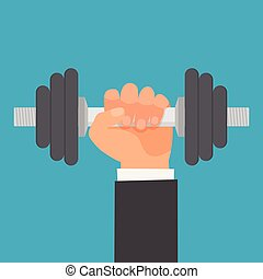 Hand of man holding a dumbbell.
