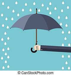 Businessman Hand holding umbrella under rain. The concept of protection, insurance. Vector illustration in flat style