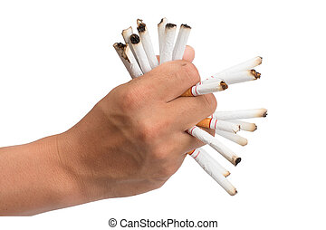 hand of man holds a cigarette in his hand. In order to stop smoke cigarettes is addictive. Health Concepts and Non-Smoking Day. With clipping path