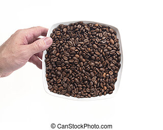 dish full of coffee beans