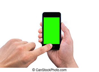 hand of man use mobile smart phone with chroma key green screen on white background