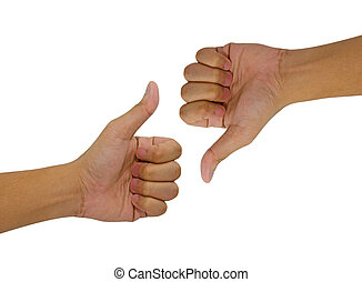 Hand of man with thumb up isolated on white background