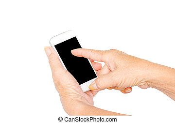 Hand of old man with mobile phone on white background.