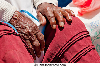 Hand of old woman in south america, Peru