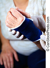 Hand of patient with bandage