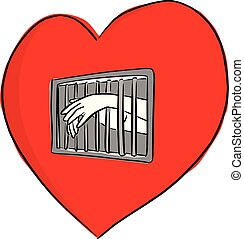 hand of person in the jail of the red heart shape vector illustration sketch doodle hand drawn with black lines isolated on white background