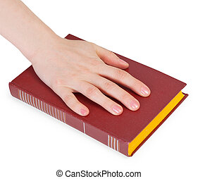 Hand of the person reciting the oath on the book isolated on a white background