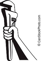 Hand of Plumber Holding Up Pipe Wrench Retro Black and White