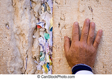 Hand of praying jew - Hand of praying men on the Western...