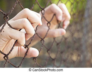 hand of prison in jail