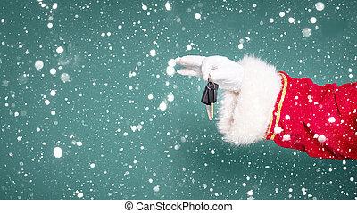 Hand of Santa Claus hold car keys