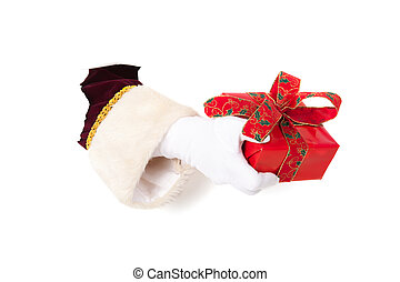 Hand of Santa Claus with present