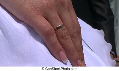 Hand of the bride with a ring.