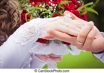 Hand of the groom and bride - wedding