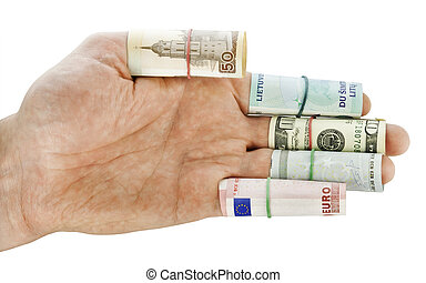Hand of the simple worker. Movement towards money