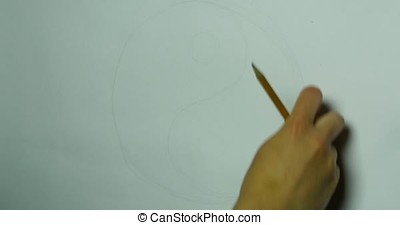 Hand of woman drawing yin yang for adult anti stress,...