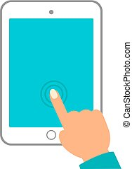 hand of woman hold tablet and pointing on the blank screen concept vector illustration