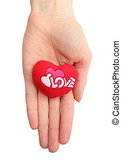 Hand of woman holding red heart. White background