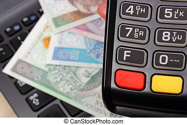 Hand of woman using payment terminal, polish currency money on laptop