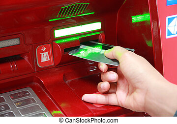 Hand of women with credit card.