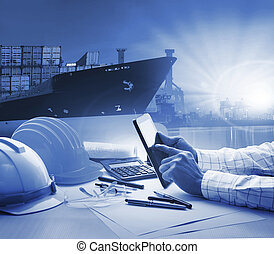 hand of working man in shipping ,logistic freigh cargo transport business blue theme