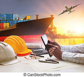 hand of working man in shipping ,logistic freigh cargo transport business