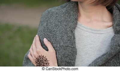 Hand of young caucasian girl with floral mehndi tattoo....