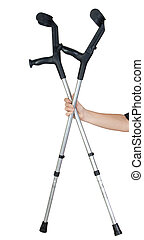 Hand offering a pair of crutches