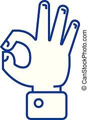 Hand ok line icon concept. Hand ok flat vector symbol, sign, outline illustration.