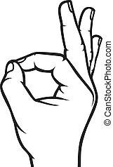 hand, o.k., menselijk, meldingsbord