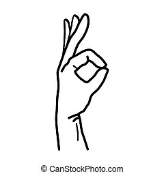 Hand OK Sign Isolated on White Background. Vector
