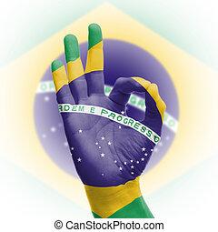 hand OK sign with Brazilian flag