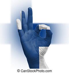 Hand OK sign with Finnish flag