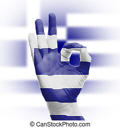 hand OK sign with Greek flag