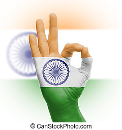 Hand OK sign with Indian flag