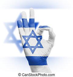 Hand OK sign with Israeli flag