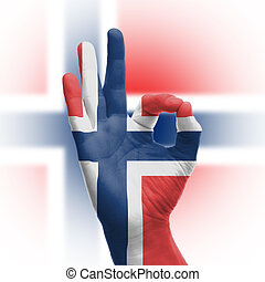 Hand OK sign with Norwegian flag