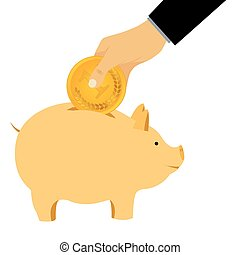 Hand omit a coin in a piggy bank.