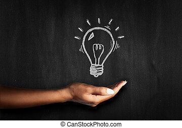Hand on a blackboard