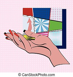 Hand on a pink and white dots background and set of types mini colorful backgrounds in a frame made in pop art style. Vector illustration design for comics, posters, flyers,  postcards, banners