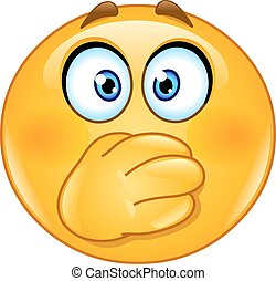 Hand on mouth emoticon - Emoticon covering his mouth with ...